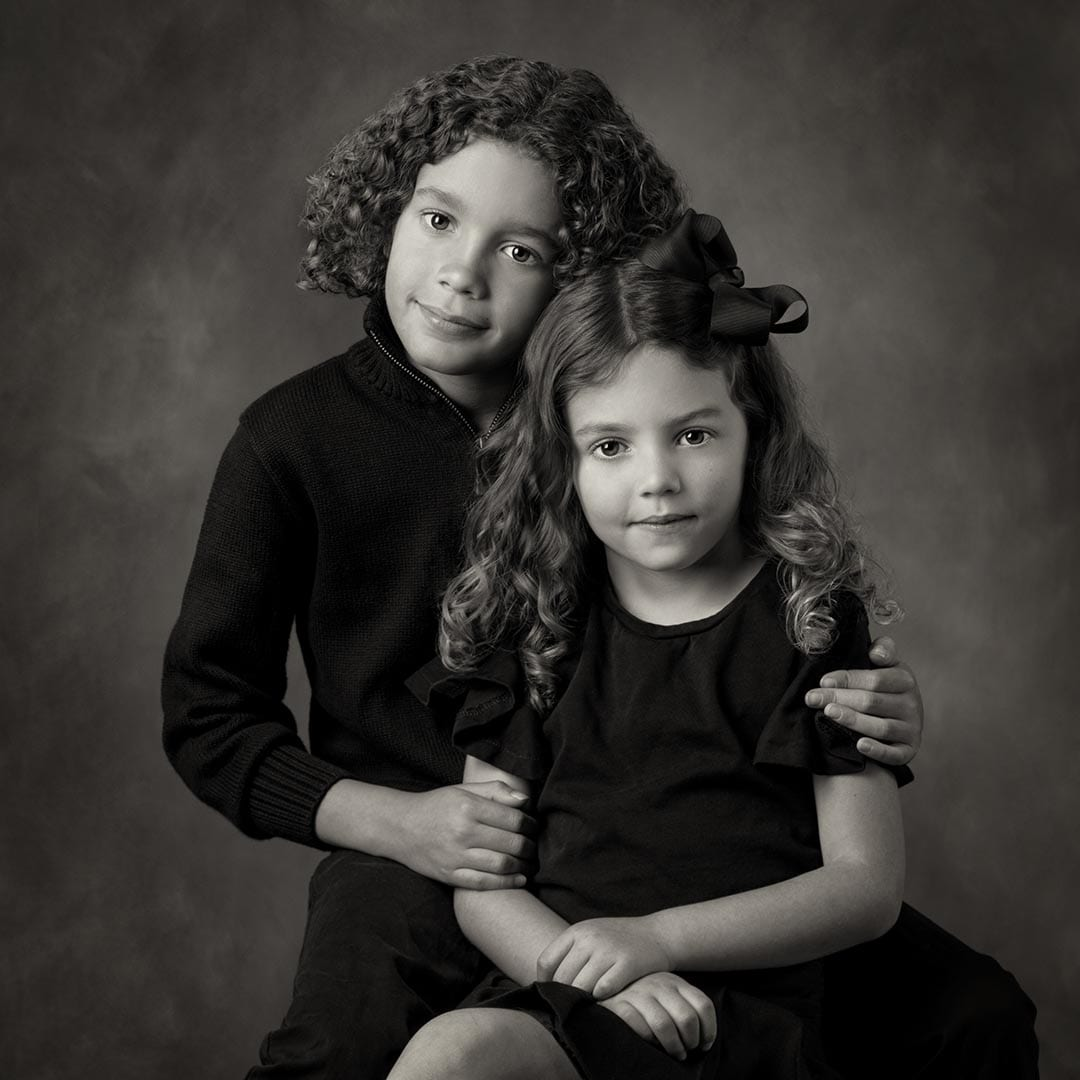 two little girls Fine Art Black and White portrait