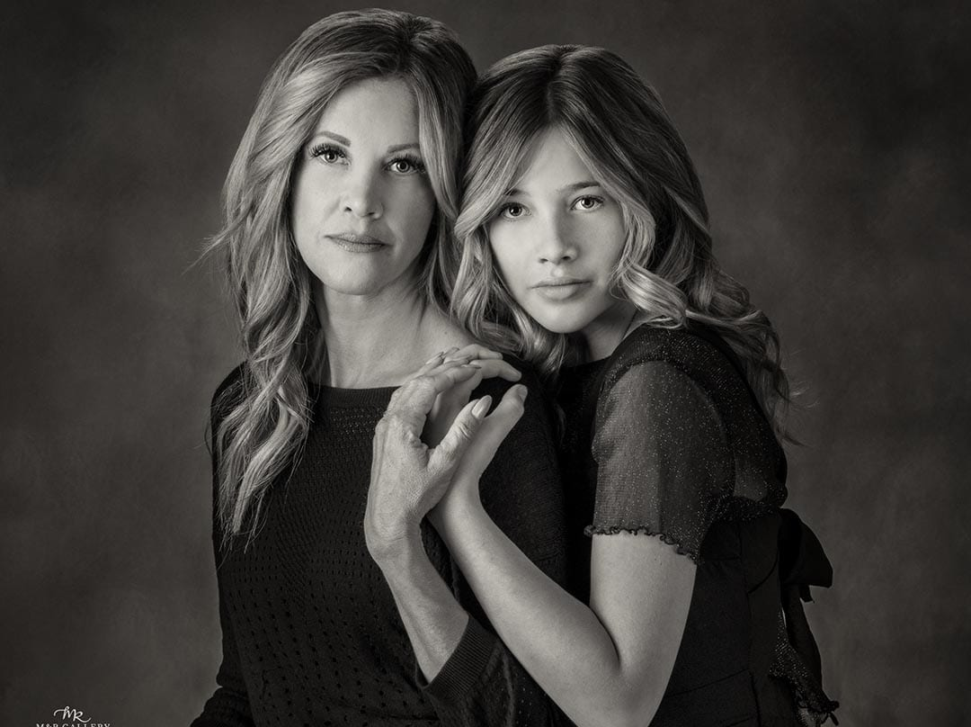 Fine Black & White portrait of mother and daughter