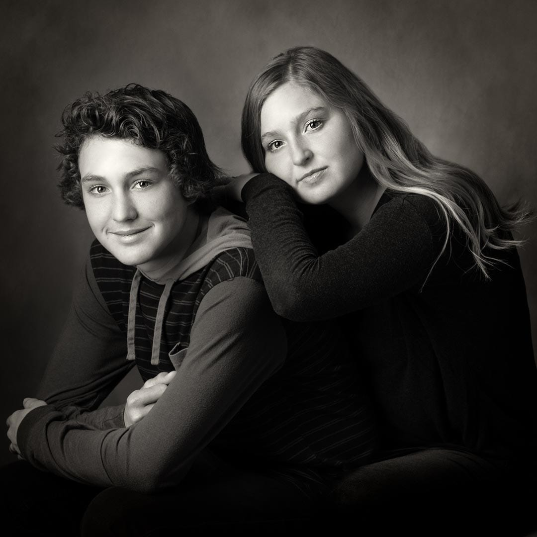 Boy and girl Fine Art Black and White portrait