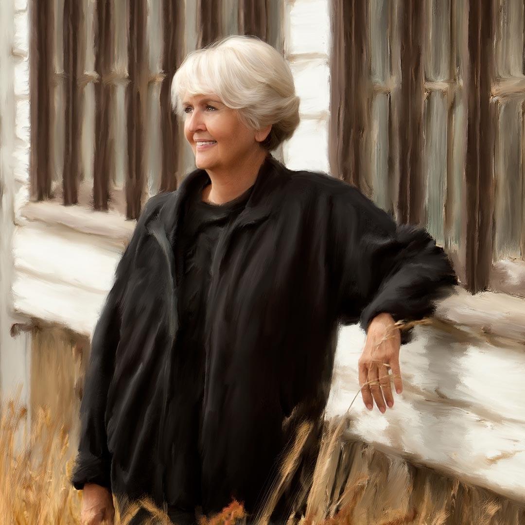 painted portrait of elderly woman