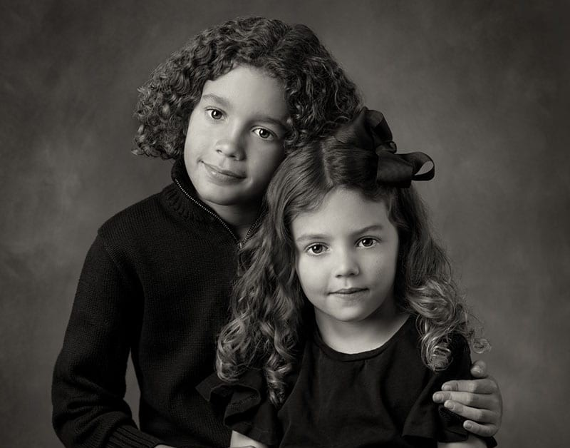 two little girs Fine Art Black and White portrait