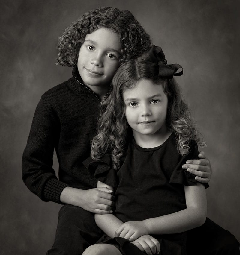 Fine Art Black and White child portrait of two children