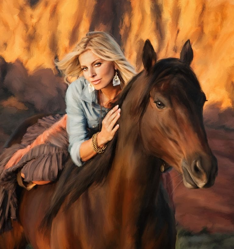 Painted Portrait of woman on a horse