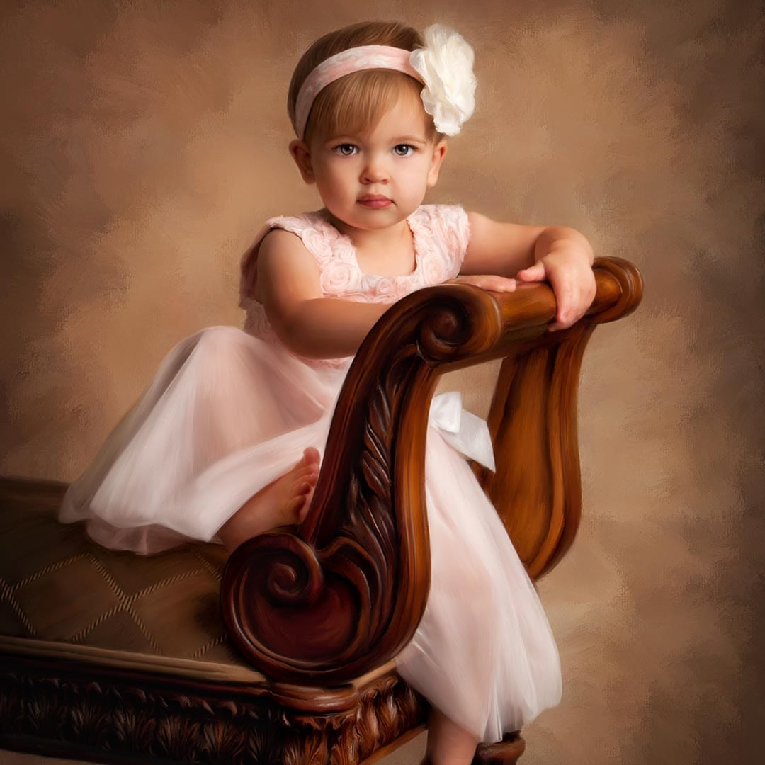 Painted portrait of little girl