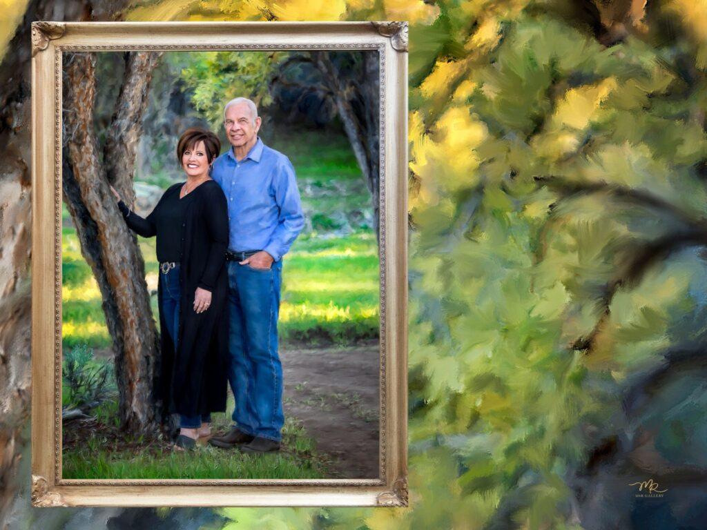 Painted portrait of couple